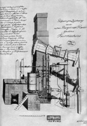 Bild: Risszeichnung der Hettstedter Dampfmaschine. Dieses Bild ist gemeinfrei, weil seine urheberrechtliche Schutzfrist abgelaufen ist.