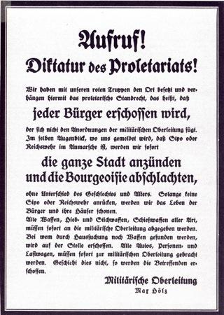 Bild: Flugblatt von Max Hoelz in Halle an der Saale mit markigen Sprüchen. Dieses Bild ist gemeinfrei, weil seine urheberrechtliche Schutzfrist abgelaufen ist.