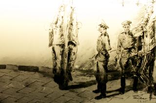 Bild: Das Pfahlhängen. Zeichnung von Georg Tauber (von 1940 bis 1945 im KZ Dachau) 1945. Foto © 2010 Birk Karsten Ecke - Gedenkstätte Konzentrationslager Dachau.