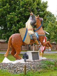 Bild: Der Tod des Grafen Hoyer von Mansfeld. Skulptur in Welfesholz.