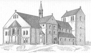 Bild: Die Stiftskirche auf dem Petersberg bei Halle an der Saale in einer historischen Zeichnung vom Ende des 19. Jahrhunderts. Dieses Bild ist gemeinfrei, weil seine urheberrechtliche Schutzfrist abgelaufen ist.