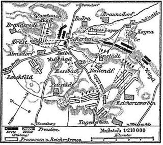 Bild: Karte zur Schlacht von Roßbach aus der 4. Auflage von Meyers Konversationslexikons (1885-90). Dieses Bild ist gemeinfrei, weil seine urheberrechtliche Schutzfrist abgelaufen ist.
