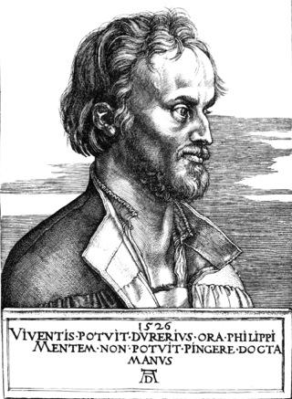 Bild: Philipp Melanchthon im Alter von 29 Jahren in einem Holzschnitt von Albrecht Dürer. Dieses Bild ist gemeinfrei, weil seine urheberrechtliche Schutzfrist abgelaufen ist.