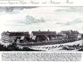Bild: Die Franckeschen Anstalten von Gottfried August Gründler, 1749. Dieses Bild ist gemeinfrei, weil seine urheberrechtliche Schutzfrist abgelaufen ist.