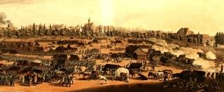 Bild: Der südliche Stadtrand von Leipzig am 19. Oktober 1813. Gemälde von Christian Gottfried Heinrich Geißler aus dem Jahre 19815. Dieses Bild ist gemeinfrei, weil seine urheberrechtliche Schutzfrist abgelaufen ist.