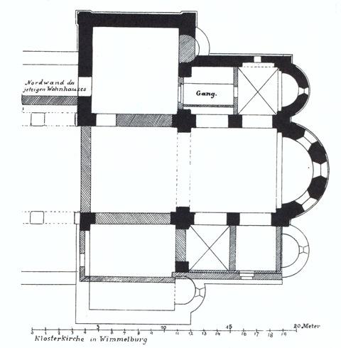 Bild: Der Grundriss der ehemaligen Klosterkirche zu Wimmelburg in einer historischen Abbildung vom Ende des 19. Jahrhunderts. Dieses Bild ist gemeinfrei, weil seine urheberrechtliche Schutzfrist abgelaufen ist.