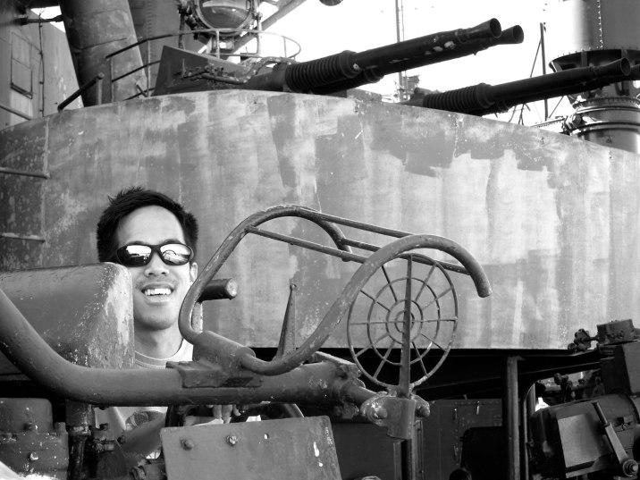 Eric at an anti-aircraft battery.