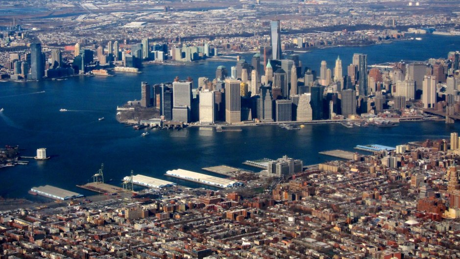 The flight path treats us to this view of Manhattan and Brooklyn as we near LaGuardia Airport.