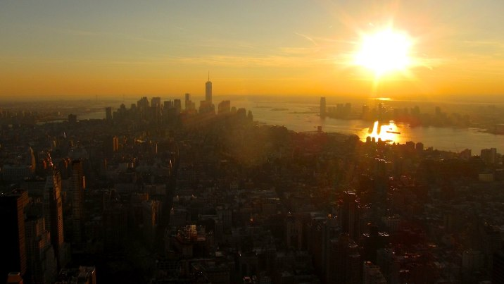Manhattan and New Jersey before sunset from the 86th floor of the Empire State Building.