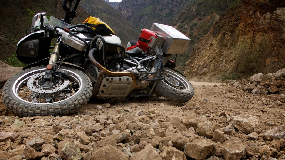 Rocks like these are hard enough to ride on the flat; the steep incline makes the fall inevitable.