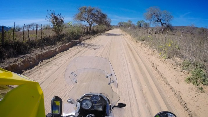 At least the deep sand is in a straight line and I have the whole width of the road to myself.