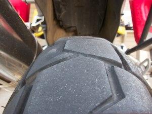 Worn rear tire