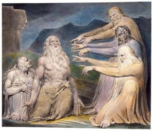 The famous painting by William Blake: Job is rebuked by his friends.