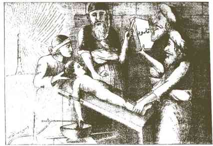 "Drawing of the alleged ritual murder in Damascus, from an Arabic book published at the time. The volume pictured is titled ""The Talmud"""