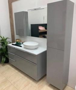 zestaw mebli łazienkowych 120 cm szary połysk + słupek łazienkowy Lofty BLaT BIAŁY