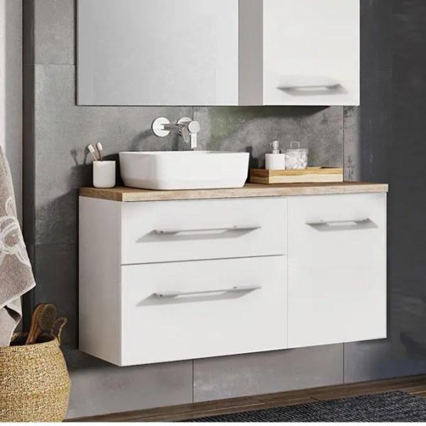 szafka z blatem pod umywalkę 120 cm biały połysk