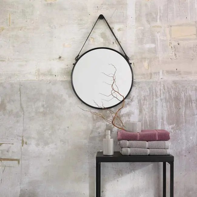 lustro na skórzanym pasku 65 cm czarne