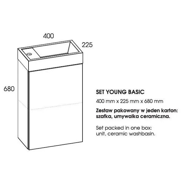 rozmiar szafki z umywalką young