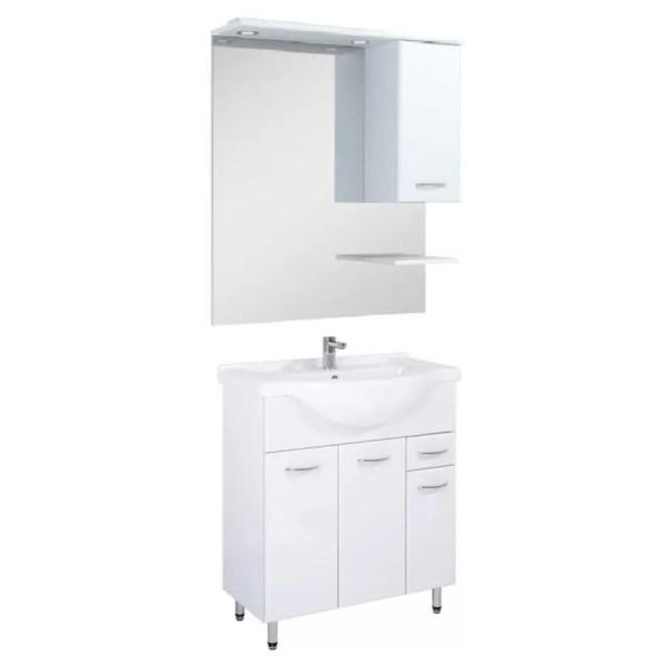 szafka łazienkowa biała na nózkach 75 cm z lustrem led