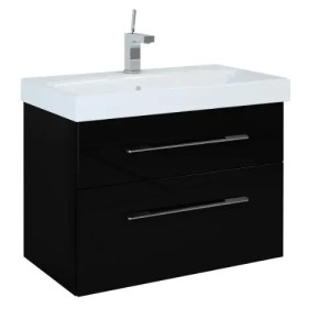 szafka z umywalka barcelona 80 black czarna polysk lakier elita