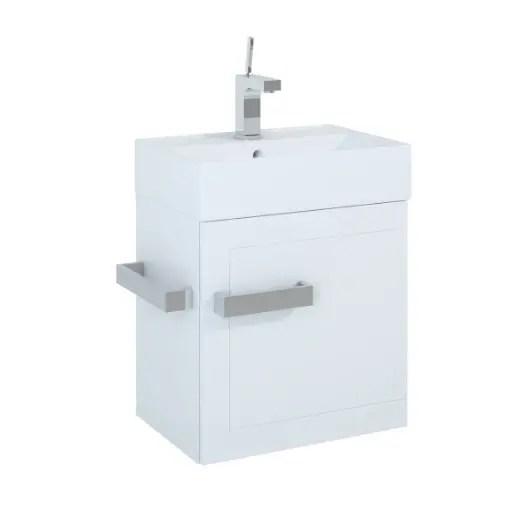 szafka z umywalka qubic 50 white biala polysk elita