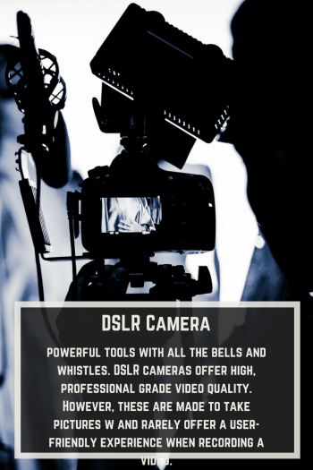 powerful tools with all the bells and whistles. DSLR cameras offer high, professional grade video quality. However, these are made to take pictures w and rarely offer a user-friendly experience when recording a video.