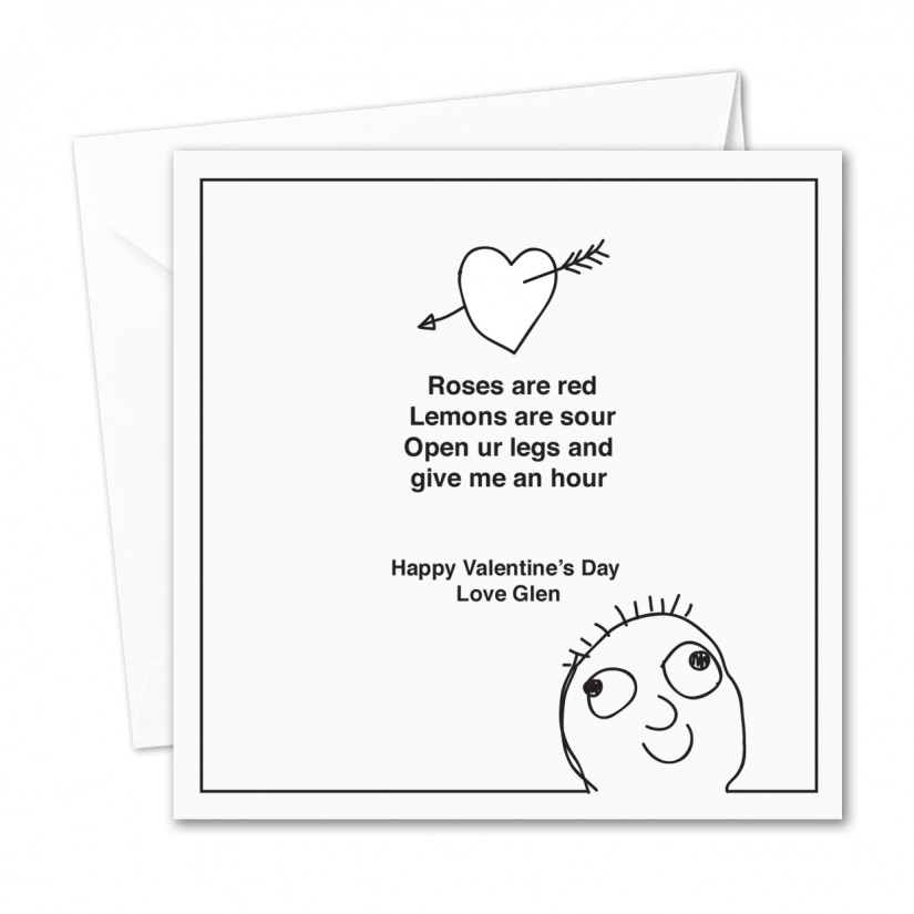 Personalised Valentines Day Card Roses Are Red Poem Rude