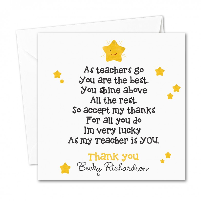 Personalised Teacher/ Nursery Thank You Card Shining Stars