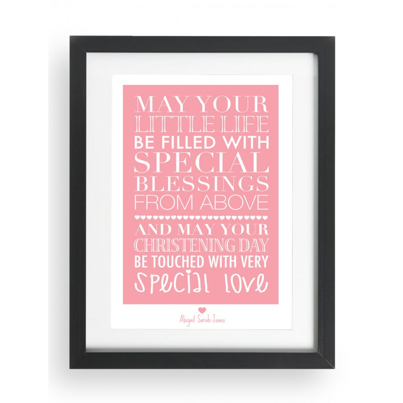 personalised blessing script print