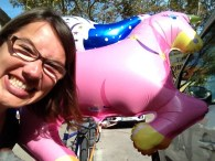 My face feat. giant inflatable Unicorn