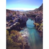 Stari Most (The old bridge in Mostar) from the Mosque Minaret