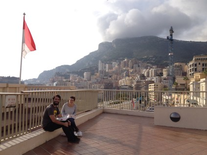 Jess and Justin chowing down in Monte Carlo