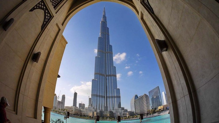 A stunning view of Burj Khalifa from outside.