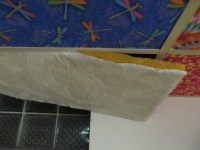 Tutorial: Cover Ugly Ceiling Tiles with FABRIC!  The ...