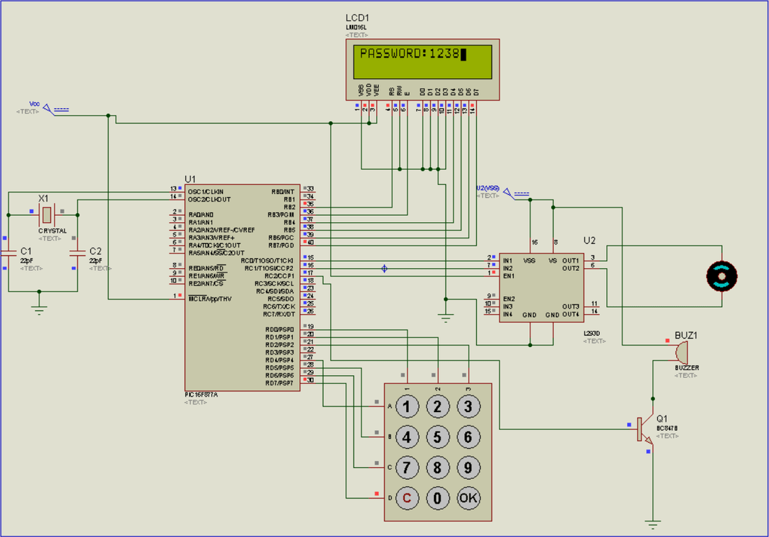 electronic number lock circuit diagram asco lighting contactor wiring password based security door using pic16f877a