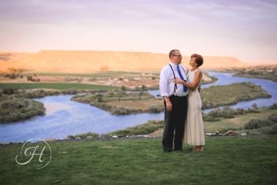 Couple Wedding Sunset Fox Canyon Vineyards Idaho Wedding Photographer