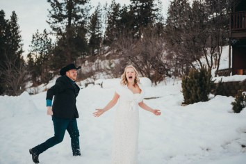 snowball fight mountain elopement photography wedding photography los angeles