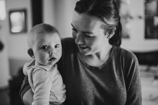 black and white baby and mom farm families idaho