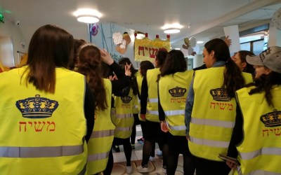 Photo du jour : Les gilets jaunes de la Guéoula à Beth Rivkah