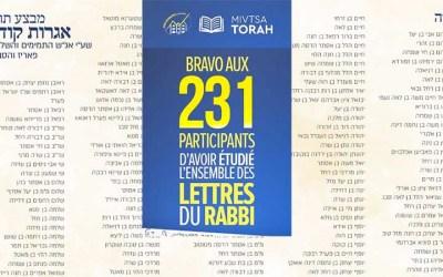 Liste des 231 participants à l'étude de l'ensemble des Iguerot Kodesh du Rabbi