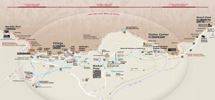 South Rim Grand Canyon Map