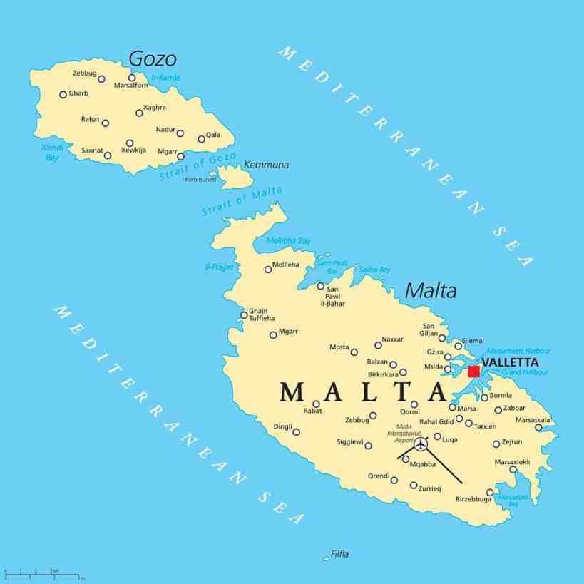 mapa de las islas de malta