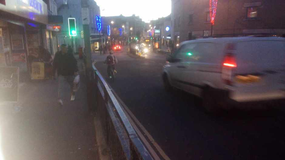 Another cyclist without lights, Queens Road, Hastings