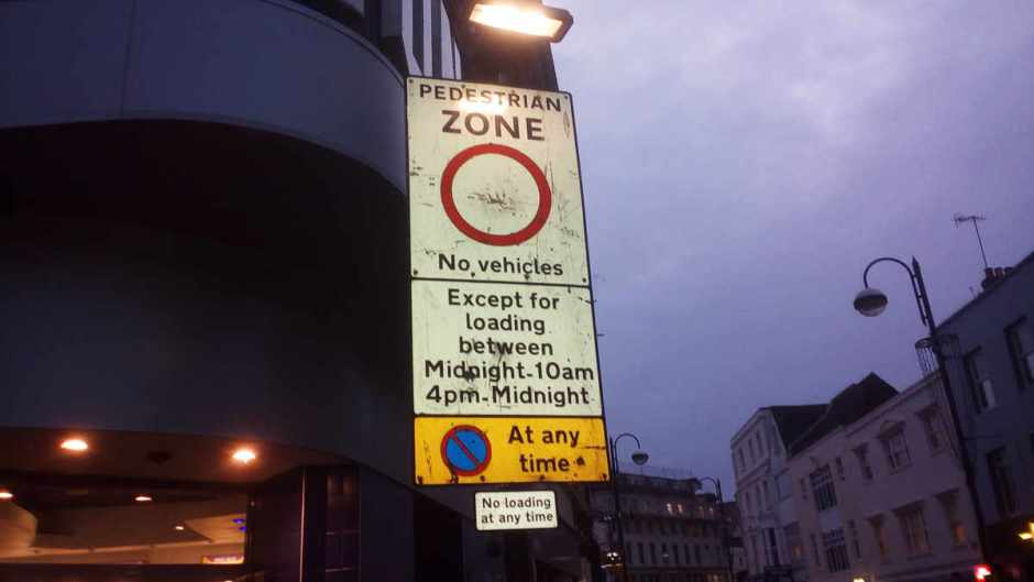 A pedestrian zone sign by Town Hall/ Odeon, Hastings.