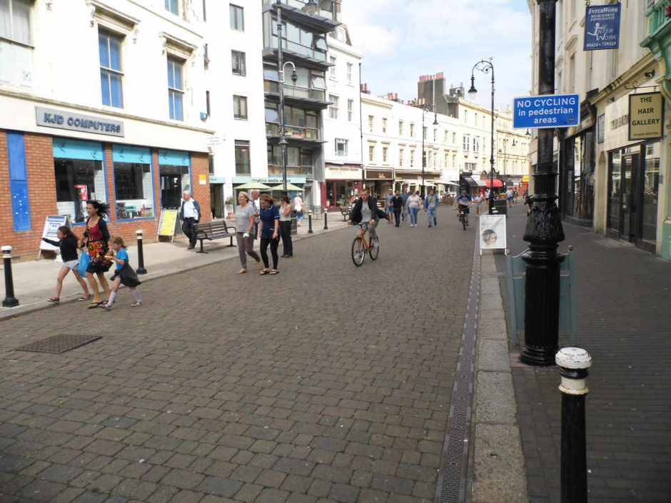 The no-cycling sign at Robertson Street, Trinity Street end.