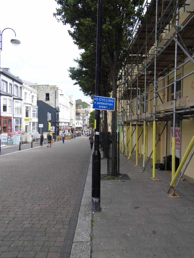 Another shot of our Cambridge Road pedestrian zone entrance, no-cycling sign., Hastings.