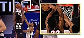 Giannis Antetokounmpo blocks Jimmy Butler. Miami Heat vs Milwaukee Bucks