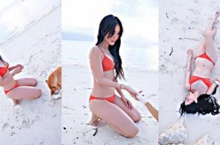 Heart Evangelista orange bikini