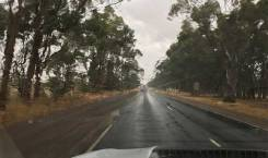 Road driving in the rain