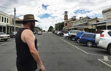 Dave crossing street in Beechworth